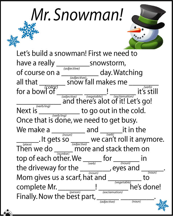 picture about Mad Libs for Kids Printable named 12 (Times of) Xmas Internet websites for Children and Academics Working day 6